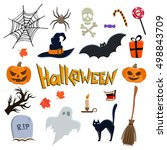 set of halloween icons. vector... | Shutterstock .eps vector #498843709