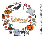 round frame with halloween... | Shutterstock .eps vector #498843748