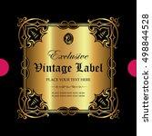luxury ornamental label in gold | Shutterstock .eps vector #498844528