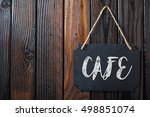 cafe sign written in chalk on... | Shutterstock . vector #498851074