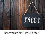 free sign written in chalk on... | Shutterstock . vector #498857500