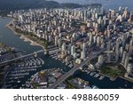 Aerial view of False Creek in Downtown Vancouver, British Columbia, Canada. - stock photo