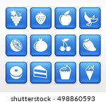 food sweets and snacks on blue... | Shutterstock .eps vector #498860593