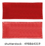 two blank red  leather labels... | Shutterstock . vector #498864319