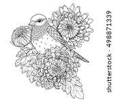 patterned bird  sitting on... | Shutterstock .eps vector #498871339