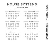 set line icons of house systems ... | Shutterstock . vector #498874228