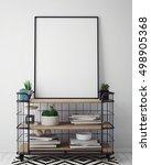 mock up poster frame in hipster ... | Shutterstock . vector #498905368