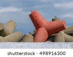 red massive concrete tetrapod... | Shutterstock . vector #498916300