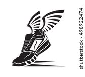 speeding running sport shoe icon | Shutterstock .eps vector #498922474