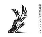 speeding running sport shoe icon | Shutterstock .eps vector #498924709