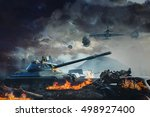 prostrate tank under fire from... | Shutterstock . vector #498927400