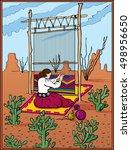 native american woman weaving a ... | Shutterstock .eps vector #498956650