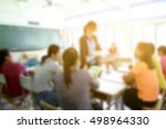 blur image of parent meeting in ... | Shutterstock . vector #498964330