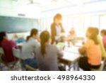 blur image of parent meeting in ... | Shutterstock . vector #498964330
