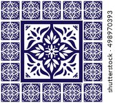 blue white tiles floor   lace... | Shutterstock .eps vector #498970393