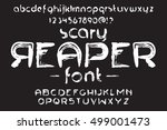hand made scribble font scary... | Shutterstock .eps vector #499001473
