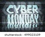 cyber monday sale glitch art... | Shutterstock .eps vector #499023109