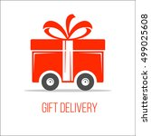 delivery gift icons. logo for... | Shutterstock .eps vector #499025608