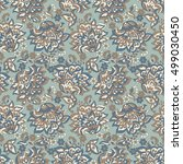 vintage style flowers seamless... | Shutterstock . vector #499030450