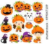 kids and the halloween pumpkin   Shutterstock .eps vector #499047109