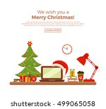 christmas workplace interior... | Shutterstock .eps vector #499065058