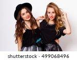 two pretty stylish girls best... | Shutterstock . vector #499068496