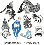 set of fantasy ladies and... | Shutterstock .eps vector #499071076