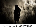 girl walking in the woods...   Shutterstock . vector #499074088