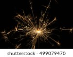 christmas sparkler on black... | Shutterstock . vector #499079470