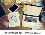 workplace workspace wooden...   Shutterstock . vector #499081630