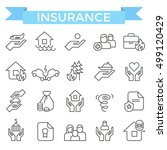 insurance icons  thin line flat ... | Shutterstock .eps vector #499120429
