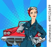 pop art woman mechanic with... | Shutterstock . vector #499121659