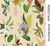 vector seamless vintage floral... | Shutterstock .eps vector #499123006