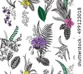 vector seamless vintage floral... | Shutterstock .eps vector #499123018