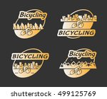retro gold logo bicycling.... | Shutterstock . vector #499125769