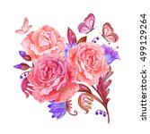 fancy floral bouquet and... | Shutterstock . vector #499129264