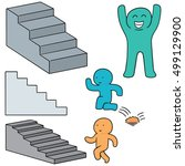 vector set of people walk... | Shutterstock .eps vector #499129900