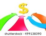 four color arrows go toward... | Shutterstock . vector #499138390