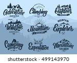 mountain logo lettering vector... | Shutterstock .eps vector #499143970