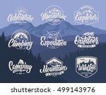 mountain logo lettering vector... | Shutterstock .eps vector #499143976