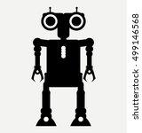 black icon alien robot cyborg ... | Shutterstock .eps vector #499146568