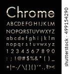 chrome letter set with gold edge | Shutterstock .eps vector #499154290