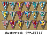 happy birthday flags garlands.... | Shutterstock .eps vector #499155568
