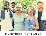 senior group friends exercise... | Shutterstock . vector #499163614
