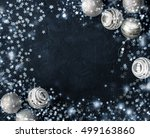 christmas card with ball on a... | Shutterstock . vector #499163860