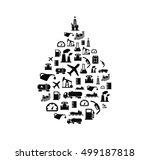 oil drop silhouette full of oil ... | Shutterstock .eps vector #499187818