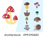 set of mushrooms with a basket... | Shutterstock .eps vector #499190683