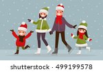 family  ice skating outdoors.... | Shutterstock .eps vector #499199578