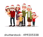 big happy family in christmas... | Shutterstock .eps vector #499205338