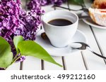 coffee cup and donuts   coffee...   Shutterstock . vector #499212160